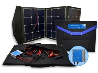 The portable solar panel provides an...